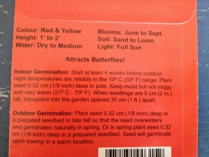Easy sowing instructions on the back of Blanket Flower seed pack.